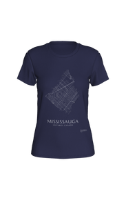 white streets of Mississauga, Ontario, on navy fitted tshirt