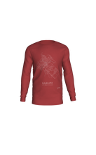 Load image into Gallery viewer, white streets of Guelph, Ontario, on canvas red long sleeve tshirt