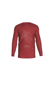 white streets of Guelph, Ontario, on canvas red long sleeve tshirt