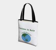"Load image into Gallery viewer, Tote Bag - ""I believe in Gaia"" with Globe"