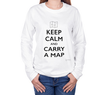 Load image into Gallery viewer, Keep Calm and Carry a Map - Long Sleeve T-Shirt