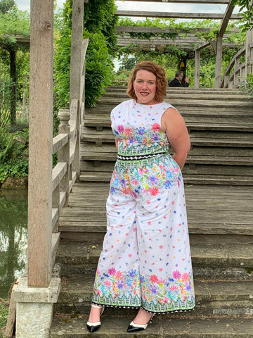 a Mad Seamstress make, Border print jumpsuit with Michael Miller fabric