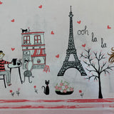 Paris Valentine WITH LOVE FROM PARIS Double Border print - a Mad Seamstress