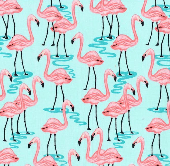 Glitter Critters FLAMINGO BAY in Aqua - a Mad Seamstress