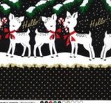 Hello my Deer DOUBLE BORDER PRINT Holiday Fabric Michael Miller Christmas fabric Retro Xmas Reindeer quilting fabric - a Mad Seamstress