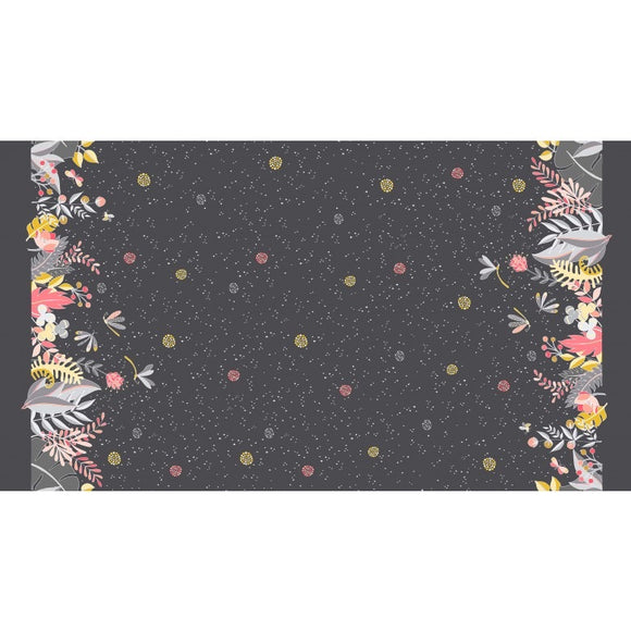 Night Garden Moonlit Border Black - a Mad Seamstress