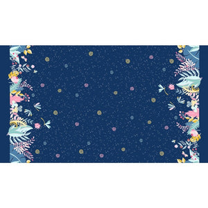 Night Garden Moonlit Border Ink Blue - a Mad Seamstress