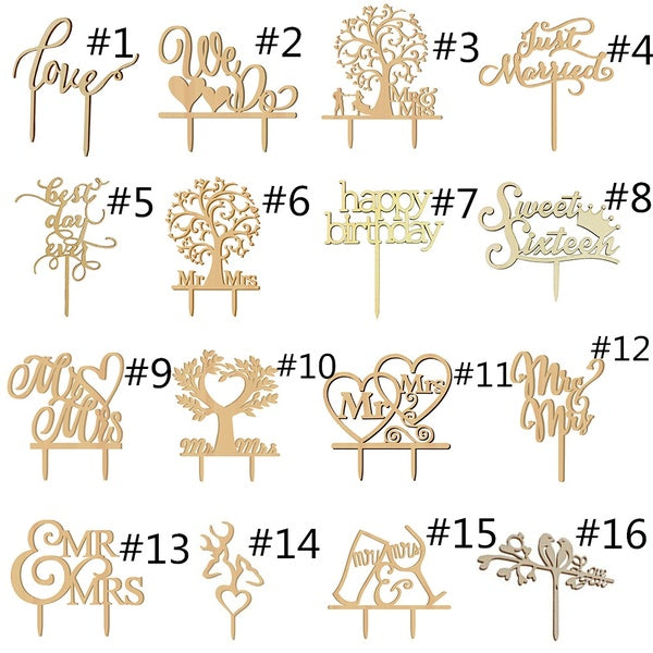 Wooden Cake Topper Wedding Party Kids Happy Birthday Table Decoration Married Cake Decorating Heart Mr Mrs Xmas Gift