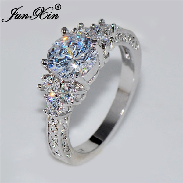 Junxin 5.80/ct Lab diamond White Sapphire Wedding Ring 10KT White Gold Jewelry Size 4-12