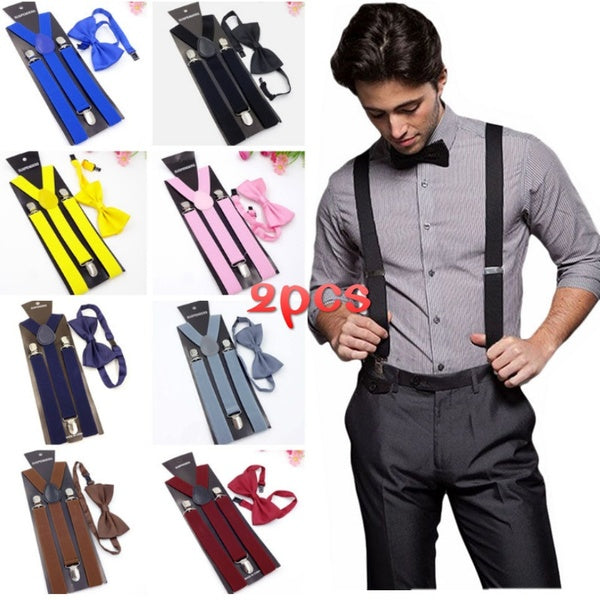 2pcs Adults Child Elegant Solid Color Clip-on Elastic Suspenders Y-Shape Adjustable Braces With Bow Tie