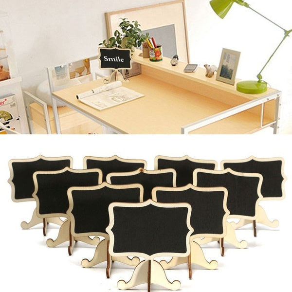 10x Mini Wooden Blackboard Chalkboard Message Wedding Party Labels Table Decor