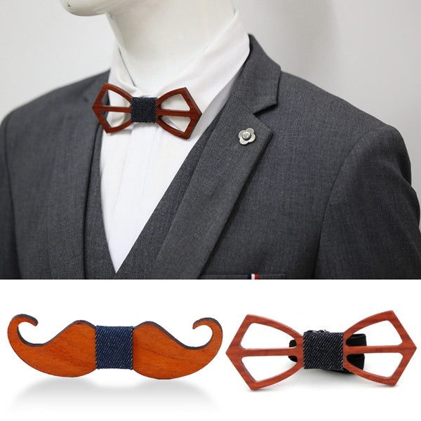 Fashion Novelty Wood Hollow Business Suit Wedding Bow Tie Handmade Grooms Skinny Classic