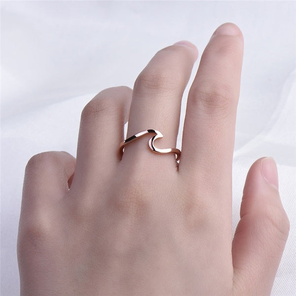 Fashion Ocean Wave Silver & Rose Gold Ring Summer Beach Sea Surfer Personality Jewelry