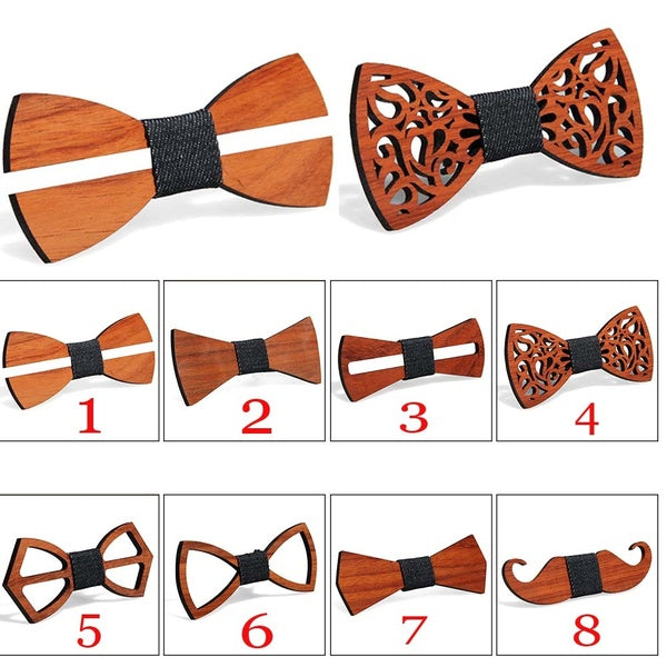 Wooden BowTie Self Tie Mens Formal Suit Bow Tie for Wedding for Groom Best Man Gift for Boyfriend Father Brother