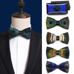 Good Quality Mens Natural Feather Bow Ties Unique PU Leather Host Party Wedding salon Concert Bowtie for Mens Accessories