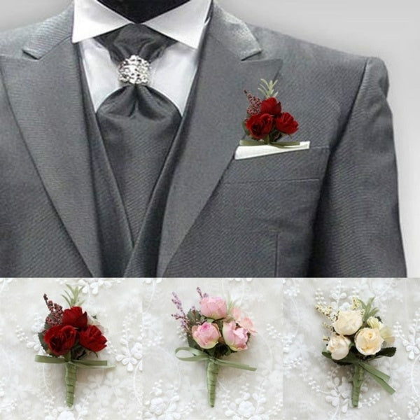 1Pcs Prom Artificial Flowers Wrist Corsage Hand Wrist Flower Groom Boutonniere Bride Bridesmaid