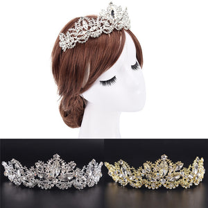 Crown Queen Bridal Tiaras Leaf Bride Crystal Princess Crown Headband Wedding Hair Accessories Hair Jewelry Gold Silver