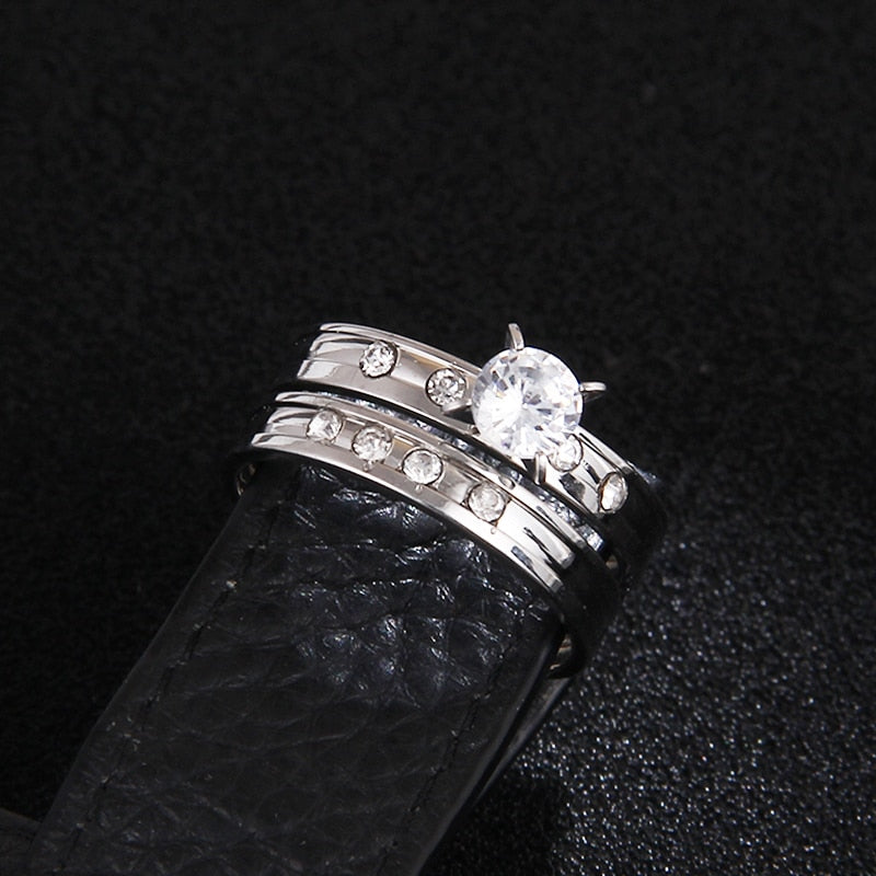 Crystal Couple Rings Set