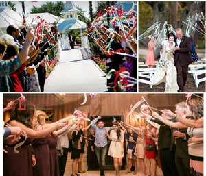 Wedding Decoration 20pcs /lot Multicolour Wedding Ribbon Stick/Sparklers Fairy Magic Wands with Bell Wedding ribbon wands