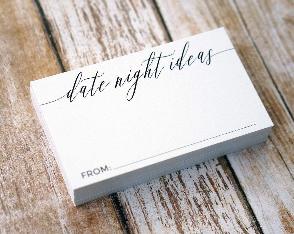 Date Night Ideas - Cards for Wedding Shower or Anniversary Party - SMALL Business Card Sized for Date Jar or Box - Pack of 50