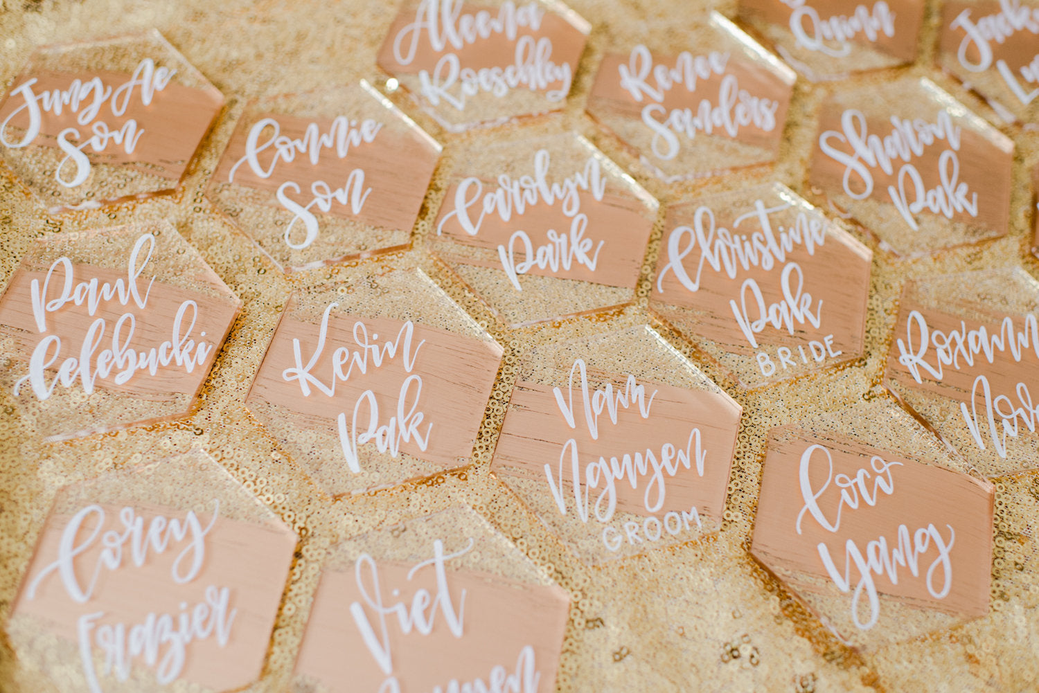 Acrylic Hexagon Escort Cards, Modern Wedding, Modern Wedding Place Cards, Modern Calligraphy, Hand Lettered Tile, Hand Lettered Escort Cards