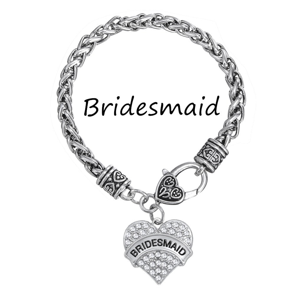 Crystal Heart Charm Bridesmaid Necklace