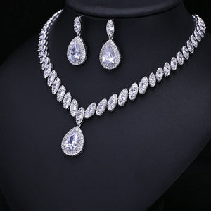 Big Water Drop Cubic Zirconia Setting Clear Crystal Wedding Bridal Jewelry Sets Gifts For Bridesmaids
