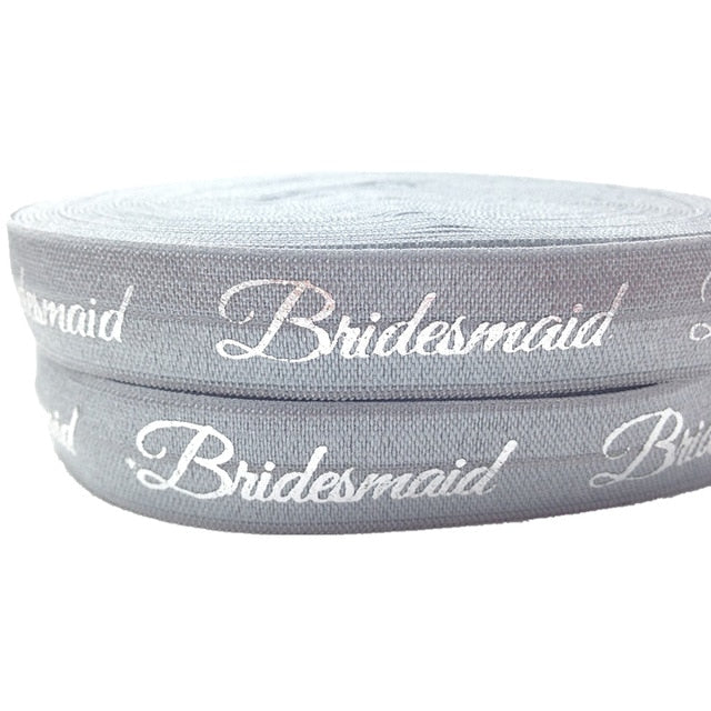 "10Y Gold&Silver Foil Bridesmaid Print Fold Over Elastic 5/8""Hot Sale FOE Ribbon for Wedding Gift Elastic Hair Band HairAccessory"