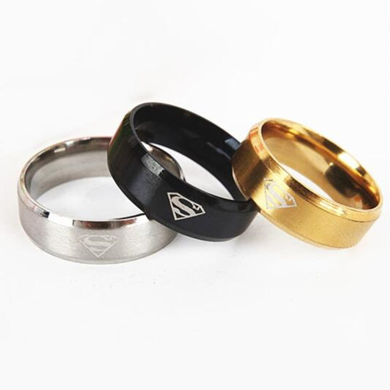 Classic Superman Women Stainless Steel Ring For Men Gold Black Rings For Men Silver Rings Metal Jewelry Boyfriend Gift