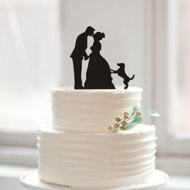 Mr & Mrs & dog Wedding Cake Topper