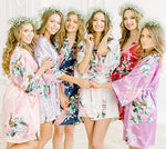 Sexy Bride Bridesmaid Wedding Dressing Robe Gray Lady Kimono Bath Gown Large Size XXXL Sleepwear Floral Nightgown Party Gift