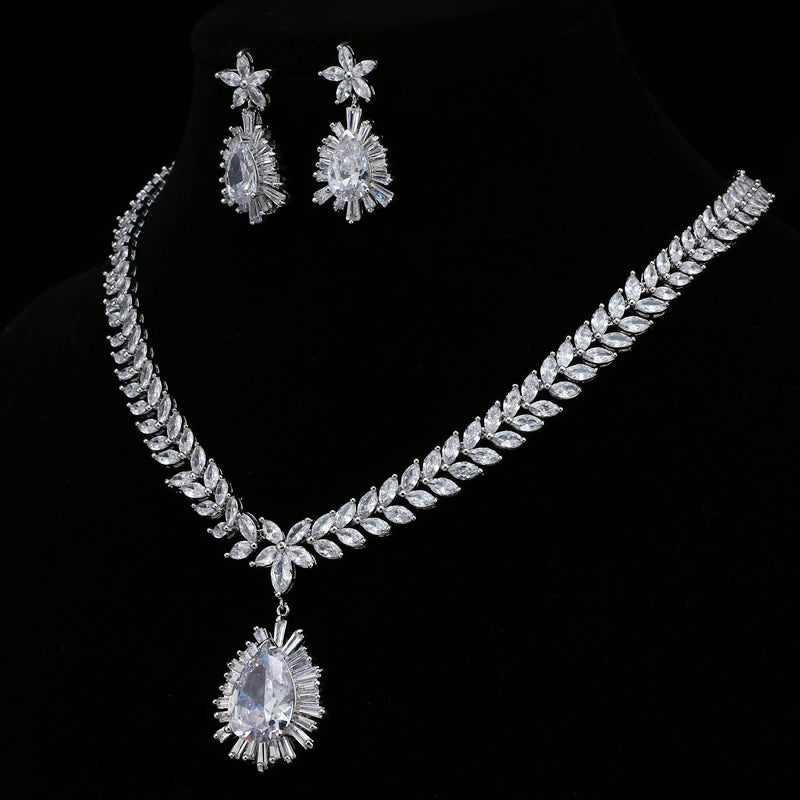 Nigerian Big Water Drop Cubic Zirconia Setting Crystal Wedding Bridal Jewelry Sets Gifts For Bridesmaids AS114