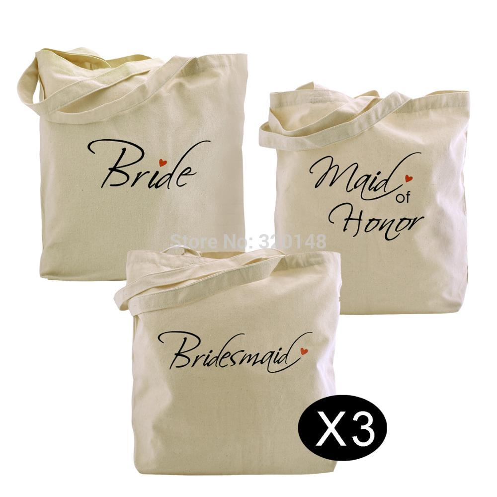 Bride tote maid of honor bridesmaids bag wedding bachelorette party gift bags cotton canvas woman shoulder bag