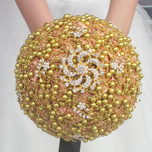 Luxury Gorgeous Gold Beaded Pearls Crystal Wedding Bouquet Handmade Bridesmaid Flowers Artificial Bridal Bouquets