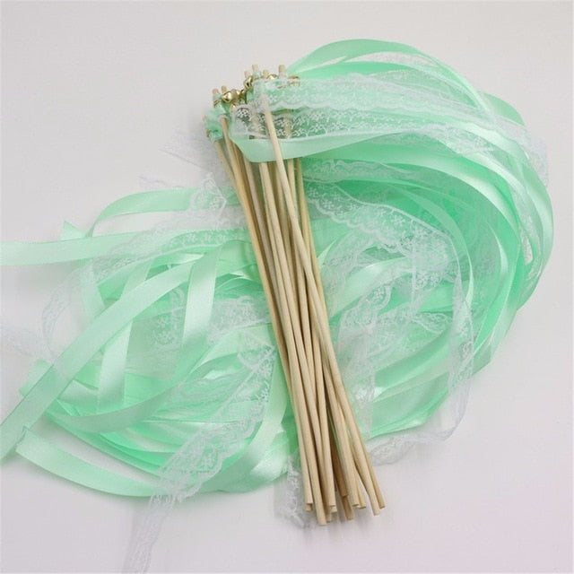 10pcs /lot Multicolour Wedding Lace Ribbon Stick/Sparklers Fairy Magic Wands with Bell Wedding ribbon wands for party Decoration