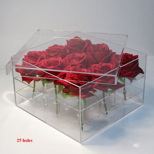 Luxury Handmade 25 Holes Clear Plastic Gift Acrylic Rose Flower Box With Lid Valentine Day Flower Gift Box