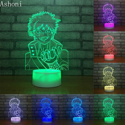 My Hero Academia Midoriya Izuku 3D Table Lamp Touch Control 7 Colors Changing Acrylic Night Light USB Decorative Kids Gifts