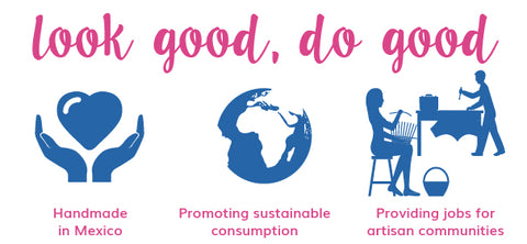 handmade, part recyclable materials, sustainable fashion, sustainable company, support artisans