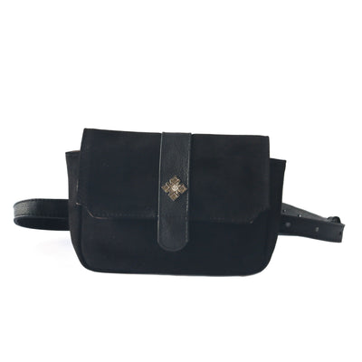 ana black suede belt bag, small crossbody bag, fanny pack, clutch, concert bag, date bag, small leather handbag