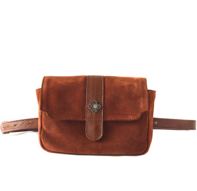 ana camel suede belt bag, small crossbody bag, fanny pack, clutch, concert bag, date bag, small leather handbag
