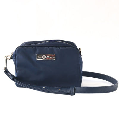 ashley blue camera bag, nylon small crossbody bag, blue shoulder bag, nylon bag, women handbags, detachable strap, synthetic leather