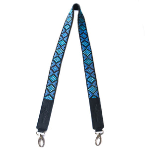 Mai Woven Bag Strap - Blue with Black Leather
