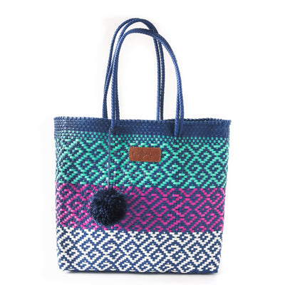 Colorin Woven Tote with detachable nylon pouch - multi color beach tote - Tin Marin Brand - Cute beach totes - beach bags - woven bags - waterproof bags