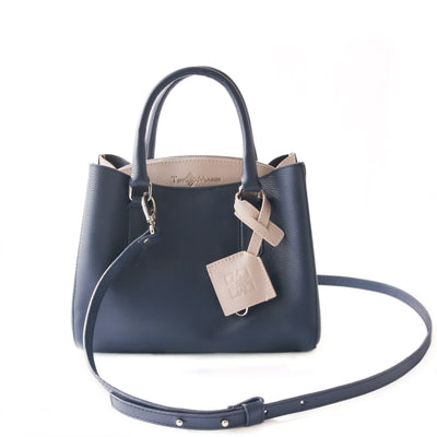 Emma leather satchel, navy blue small crossbody bag, leather bag, crossbody leather bag, leather satchel bag, zipper pocket, color-block bag with keychain