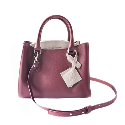 Emma leather satchel, burgundy small crossbody bag, leather bag, crossbody leather bag, leather satchel bag, zipper pocket, color-block bag with keychain