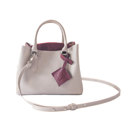 Emma leather satchel, taupe & burgundy leather small crossbody bag, gray leather bag, crossbody leather bag, leather satchel bag, zipper pocket, color-block bag with keychain