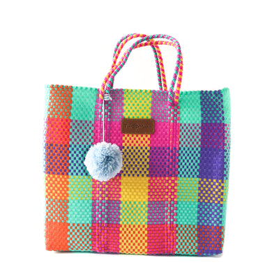 Fiesta Woven Tote with detachable nylon pouch - multi color beach tote - Tin Marin Brand - Cute beach totes - beach bags - woven bags - waterproof bags