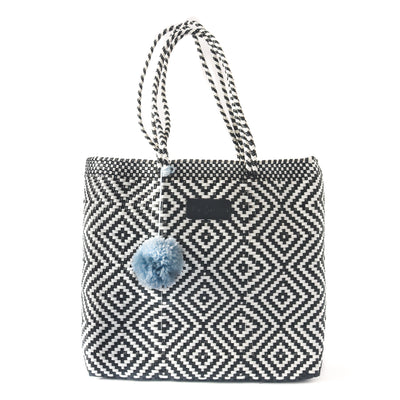 Greca Woven Tote with detachable nylon pouch - black & white beach tote - Tin Marin Brand - Cute beach totes - beach bags - woven bags - waterproof bags