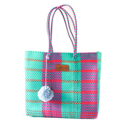 Matiz Woven Tote with detachable nylon pouch - multi color beach tote - Tin Marin Brand - Cute beach totes - beach bags - woven bags - waterproof bags