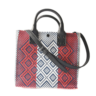 Piruli Medium Crossbody Bag - Red, blue, and white Woven Crossbody Bag with Black Leather Strap, handles, and Interior Pouch - Tin Marin Brand - Crossbody bags for women - handwoven bags made by artisan communities